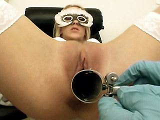 Pretty blonde Justine came into the clinic in need of a pussy check up Justine sat on the examination chair and spreads her legs wide to run her fingers all over her dripping slit Soon this male nurse came and assisted her by spreading her hole with a speculum